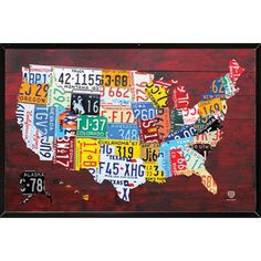 This poster of a 'License Plate Map of the US' comes mounted on your choice of a matte gold, black, white or silver plaque. The plaque process laminates the poster directly onto a board for beautifuly