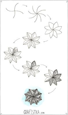 Как нарисовать узор Зентангл цветок, 18