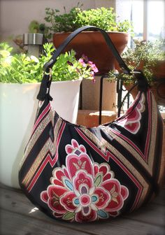 BK285 Gorgeous Pink Flower Pattern Crescent Bag by RummyHandmade, $70.00