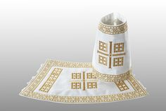 The treasury of this mediaeval monastery in the Serbian province of Kosovo and Metohija contains a unique pair of liturgical cuffs which serve as the inspiration for this set of vestments. DECHANI is available in navy blue, white and purple acetate. Early Christian, Gold Embroidery, Body Types, Ready To Wear, Purple, Unique, How To Wear, Body Shapes