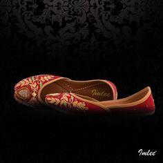 Red Silk Intricate Jaali Resham Embroidered Mojari, stiched with perfection. #Imlee #Mojaris