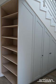 Under-stair storage cupboards & oak bookcase in 2020 Storage Under Staircase, Stairway Storage, Under Stairs Cupboard Storage, Under Staircase Ideas, Living Room Under Stairs, Kitchen Under Stairs, Diy Understairs Storage, Attic Storage, Closet Storage