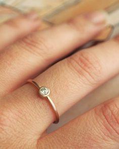 Rose Gold Diamond Ring. $695.00, via Etsy.