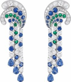 Van Cleef & Arpels earrings from the Seven Seas Collection with round sapphires, round emeralds and round sapphires