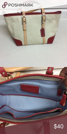 Coach purse Coach purse tan canvas trim dark red leather strap. 8.5x14 Bags Satchels