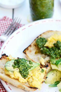 Perfect Scrambled Eggs with Basil Pesto and Avocado