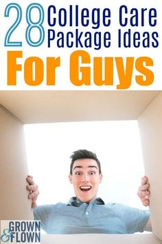 28 College care package ideas for guys. If you're looking for ideas of what to include in a college care package for your favorite college student, we promise they'll love these care package ideas. package ideas for college Care Packages For College Boys, Gifts For College Boys, College Student Gifts, College Guys, Scholarships For College, College Students, College Football, College Gift Baskets, Austin College