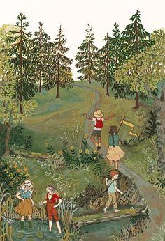 Explorateurs de bois | Etsy Art Fantaisiste, Art Mignon, Illustration Noel, Gouache Painting, Whimsical Art, Cute Art, Art Inspo, Collages, Folk Art