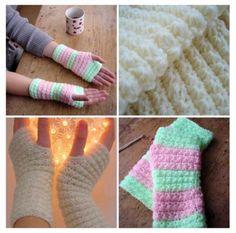 15 Fabulous FREE Star Stitch Crochet Patterns: Star Stitch Hand Warmers Free Crochet Pattern by Orchidee