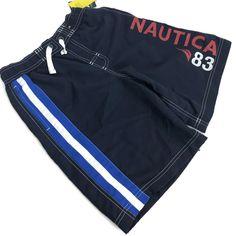 53c0323edb NAUTICA Boys Youth Blue Spell Out Board Shorts Swim Trunks Sz 10-12 Retail  $34