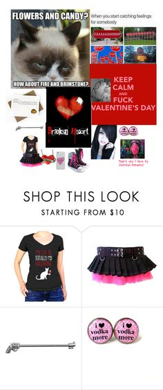 """""""Happy Singles Awareness (I'm a lonely mofo😂) wtf even is th mcr thing lol"""" by lonelysuicide ❤ liked on Polyvore featuring Poizen Industries"""