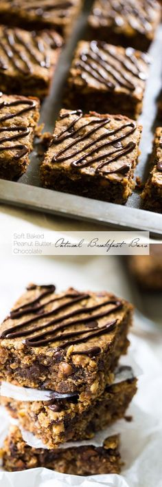 Chocolate Peanut Butter Oatmeal Breakfast Bars - Tastes like store bought but are high protein, gluten free and have no refined sugar, butter or oil! | Foodfaithfitness.com | @Food Faith Fitness