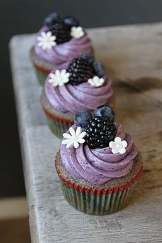 Blueberry-Blackberry Cupcakes with Blueberry Cream Cheese Frosting.