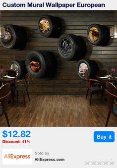 Custom Mural Wallpaper European Style Retro Automobile Tires Wood Grain Wall Painting Living Room Cafe Restaurant Wallpaper 3D * Pub Date: 04:50 Apr 17 2017
