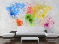 World Map Painting Wall Mural
