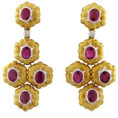 BUCCELLATI Ruby Gold Chandelier Earrings