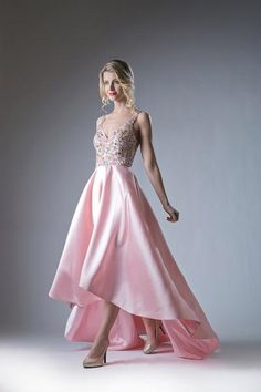 Pink High Low Dress with Beaded Top by Cinderella Divine 84406 High Low Evening Dresses, Pink High Low Dress, High Low Gown, Prom Dresses For Teens, Cute Prom Dresses, Ball Dresses, Homecoming Dresses, Wedding Dresses, Elie Saab