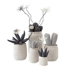 Crochet Skinny Cluster Cactus (large | grey) | African cotton crochet knit cactus, succulent and euphorbia pot plants by Safari Fusion