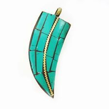Indian Turquoise Mosaic Tiles Gold Tone Metal Pendant Women Fashion Jewelry Gift