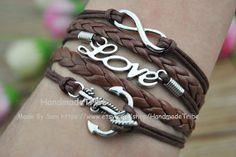 Infinity Bracelet LOVE Bracelet Anchor Bracelet by HandmadeTribe, $4.00 Stylish leather cuff bracelet