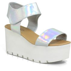 Leila Chunky Holographic Platform Velcro Sandals ($75) found on Polyvore