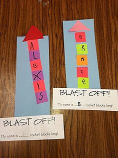 Solano's Kindergarten Class: Painted Rocket Ships & Name Rocket Blocks Ms. Solano's Kindergarten Class: Painted Rocket Ships & Name Rocket Blocks Space Preschool, Preschool Names, Kindergarten Literacy, Kindergarten Classroom, Literacy Activities, Bilingual Kindergarten, Space Classroom, Shape Activities, Counting Activities