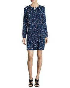 TB9CA Diane von Furstenberg Long-Sleeve Pleated Daisy Buds Dress, Indigo