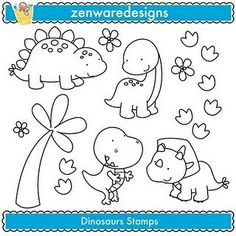 how cute would it be to take these stamps and make a cute little picture to hang in the babys room. Cute Dinosaur, Dinosaur Birthday, Dibujos Cute, Cute Clipart, Applique Patterns, Digi Stamps, Colouring Pages, Easy Drawings, Sewing Crafts