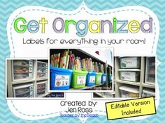 One of my favorite things to do is to get organized! I am so much less stressed when I'm organized! I have these labels all around my room. You can check out my post {HERE} that shows how I use them all!Included are labels for:classroom librarycabinetssuppliesdrawersbucketsfoldersshoeboxesand more!I have also included an editable version so you can make it fit your classroom!Download the preview to see what's included!I have free book leveling labels {HERE}
