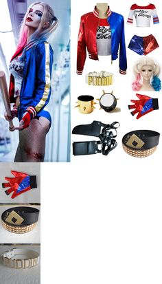 Women Costumes: Halloween Costume Harley Quinn T-Shirt Jacket Coat Andwigs Andglove Accessory Lot -> BUY IT NOW ONLY: $8.49 on eBay!