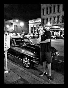"""Jared with an early stingray Corvette. Jared: """"Will I fit?) Two of my FAVORITE things, together! Thank you Cas! Jared Padalecki Supernatural, Supernatural Sam, Supernatural Seasons, Supernatural Wallpaper, Castiel, Jensen And Misha, Jensen Ackles, Mark Sheppard, Sam Dean"""
