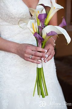 purple calla lily bouquets for weddings | Found on weddingwire.com