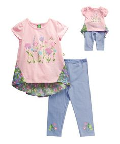 8bc23d388 Pink Floral Hi-Low Tunic Set  amp  Doll Outfit - Girls  zulily