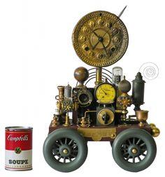 """Clock on Wheels  15.5""""H x 12""""W x 7.5""""D   #5063"""