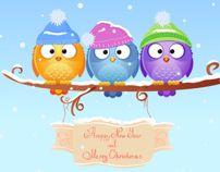 Christmas birds. Vector illustration. by Yullia Brykova, via Behance