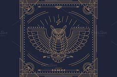 Thin line bird label ~ Illustrations on Creative Market