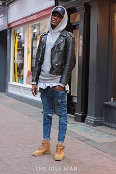 Men's street style, long line tee under a thick grey hoodie, a classic biker and Timberland Chukka boots |The Idle Man