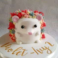 Flower hedgehog cake by Little Peach Cakery - backen - Gateau Pretty Cakes, Cute Cakes, Beautiful Cakes, Amazing Cakes, Baby Cakes, Cupcake Cakes, Kid Cakes, Cake Fondant, Buttercream Cake