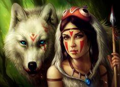 Krieger Magische Tiere Speer Fantasy Mädchens