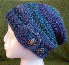 Slouchy Crochet Hat  Adjustable  Adult size by RachelsCozyCrochet