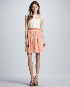 Nha Khanh - Dotted Overlay Pleated Skirt #15Things #fashion #style #trending #pleated #skirt #NhaKhanh