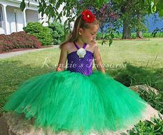 Little Mermaid Tutu Dress With Real Shell Clip and Red Daisy Hair Clip - Sizes 2T to Girls 6