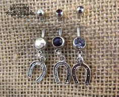 silver horseshoe belly button ring country by SouthernTouchDesigns