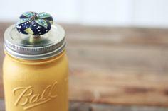 Very clever: painted mason jar, decorative knob top.