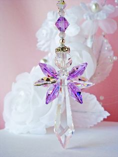 Crystal Guardian Angel Car Charm created with Violet and Aurora Borealis Crystals.