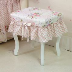 Aliexpress com buy yg korean garden princess piano stool cover chair cover custom cotton bhzy flower bow dressing table stool cover chair cover from reliable piano laptop suppliers on warm textile home Shabby Chic Furniture, Shabby Chic Bedrooms, Shabby Chic Decor, Stool Cushion, Piano Stool, Dressing Table With Stool, Stool Covers, Kitchen Cabinet Styles, Table And Chair Sets
