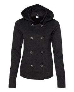 Charcoal Heather Juniors Premium Heavy Textured Fleece Pea Coat From Independent Trading Co. - PRM350PC (FREE SHIPPING)