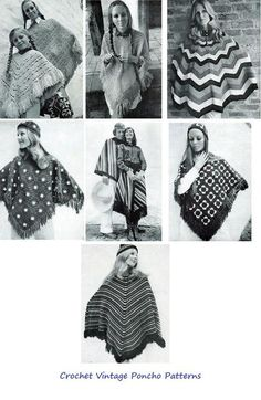 A vintage collection of poncho patterns to crochet. These seven patterns include a man's poncho, a mother daughter poncho and matching hats. Ponchos can be made in a variety of colors and make great gifts.   Contents include..