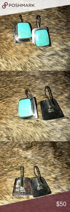 Turquoise Sterling Silver Earrings. Real turquoise in sterling silver Other