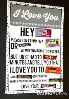 Four Printable Candy Posters - The Dating Divas - Free Romantic Candy Gram Poster - Homemade Birthday Gifts, Diy Birthday, Birthday Quotes, Birthday Board, Homemade Gifts, Birthday Ideas, Candy Bar Poems, Candy Bar Cards, Candy Messages